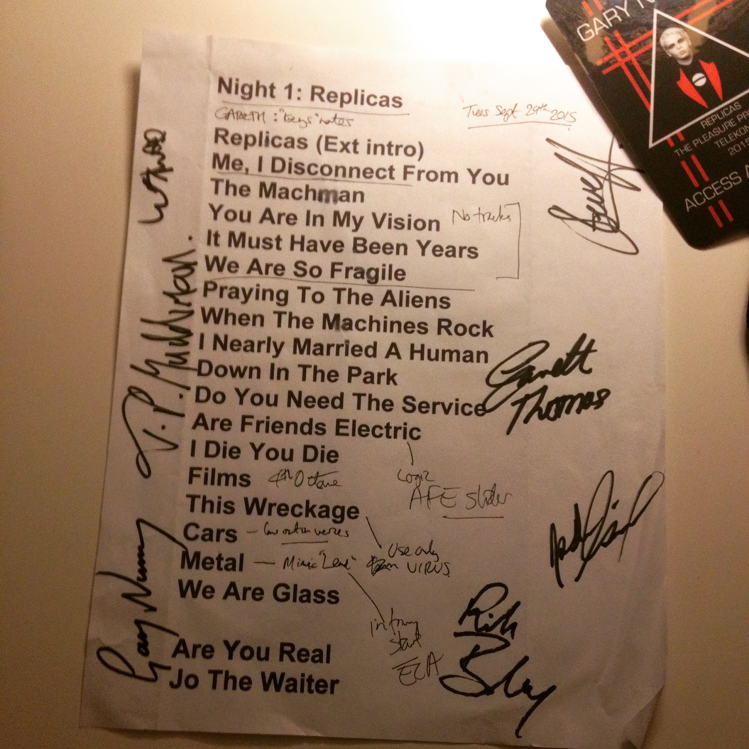 "A keeper. My first setlist from the ""Replicas"" nite at Teragram in LA. Signed by all the band."